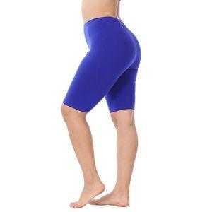 Plus Size Premium Cotton Blue Biker Bike Shorts 1X